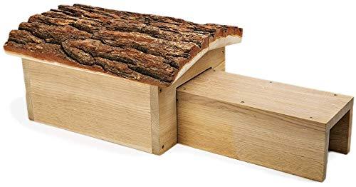 NEST TO NEST Hedgehog House For Garden & Hedgehog Hibernation Shelter | Hedgehog Home From Oak Wood And Bark Roof | Hedgehog Igloo | Hedgehog House With Tunnel, Premium Quality