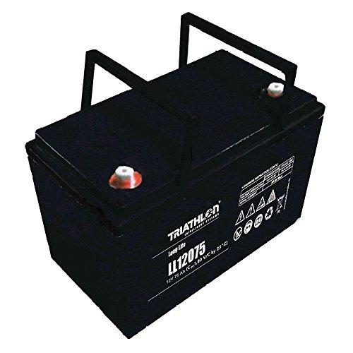 AGM 12 Volt Triathlon Batterie 75AH Blei Vlies Akku für Alarmanlage, Notstrom, Elektrofahrzeuge, Speicher