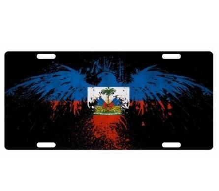 Dant454ty Haiti Vintage -Flag Aangepaste Front License Plaat Decoratieve Grappige Nieuwigheid Plaat Frame Cover Vanity Tag Unieke Geschenken voor Mannen Vrouwen Haïtiaanse Creool