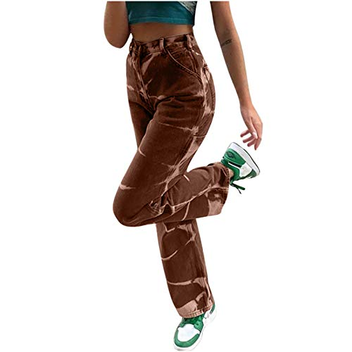 POTO Women's Y2K Jeans High Waist Wide Leg Pants Corduroy Baggy Trousers Straight Jeans Retro Vintage Streetwear
