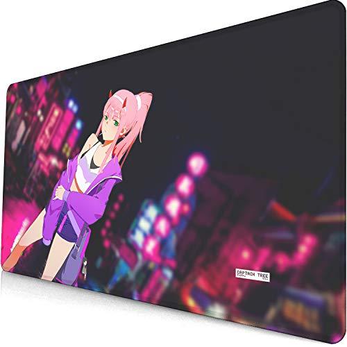 Groß Mauspad Gaming 900X400X3MM - Xxl Mauspad Anime - Tischunterlage Large Size - Mousepad Mit Einer Speziellen Oberfläche Verbessert Geschwindigkeit Und Präzision Elite-Fahrer Zero Two-1