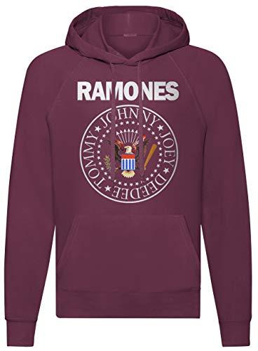 LaMAGLIERIA Sudadera Unisex Ramones Classic Colors - Sudadera con Capucha Punk Rock Band, L, Burgundy