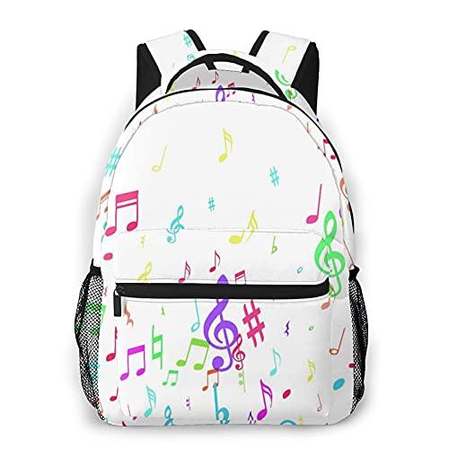 MEJX Mochila Paquete de Almacenamiento,Coloridas notas musicales voladoras aisladas sobre fondo blanco,Casual Bolsa de Estudiantes de la Escuela Mochila Portátil de Viaje