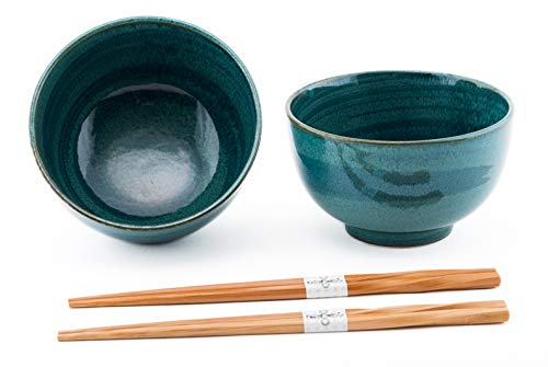Quality Japanese Rice or Noodle Bowls 6' Diameter Multi Purpose Tayo Bowl Set of 2 with Chopsticks Gift Set Imported From Japan (Green)