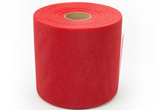 BARATTI Tulle Larghezza 12,5 CM Bobina Rotolo da 100 Metri Colore Rosso Altezza