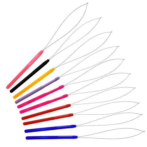 10pcs Extension de Cheveux Coloré Ensemble Micro Anneau Perle Tirant le Cerceau Boucle Outil pour Enfile-aiguille à Plumes