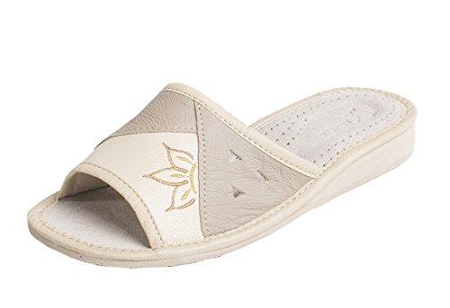 World of Leather - Zapatillas de estar por casa de cuero para mujer,...