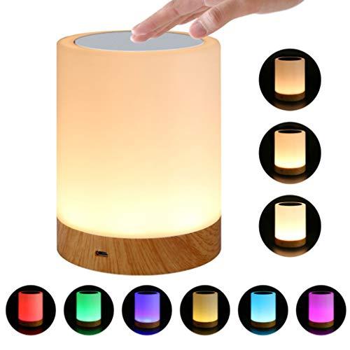Veilleuses Veilleuse de commande tactile tactile de lampe de couleur multicolore intelligente de couleur LED, veilleuse de table, lampe de poche LED avec lumière blanche chaude dimmable et 6 couleurs
