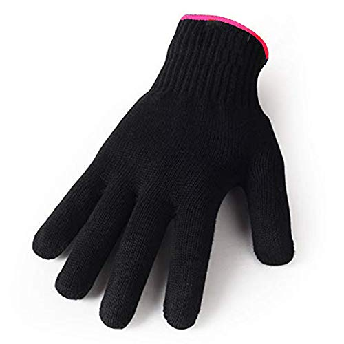 Heat Resistant Glove for Hair Styling, Curling Iron, Flat Iron and Curling Wand, Black, Pink Edge, 1 Piece