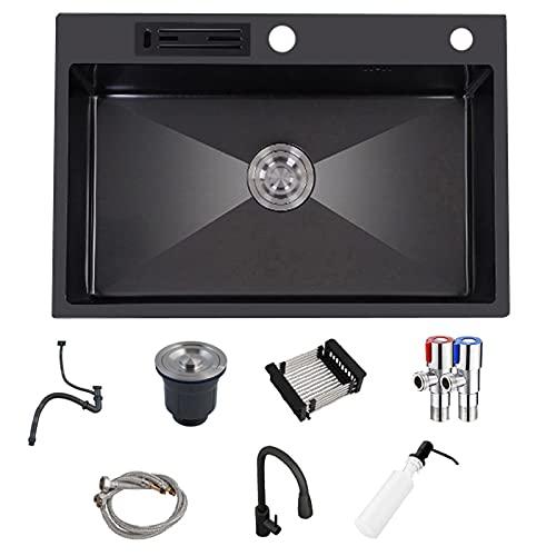 Fregadero de cocina nano negro, fregadero empotrado de acero inoxidable de un solo tazón, con grifo, tubo de...