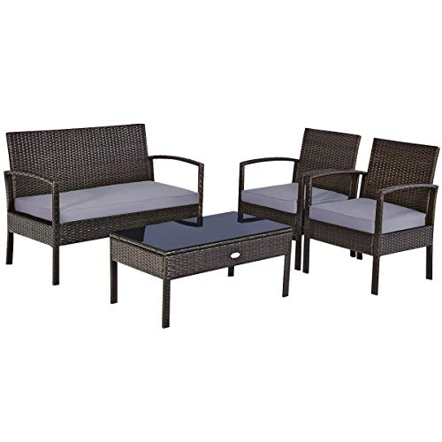 Moccha 4-Piece Patio Rattan Furniture Set, Outdoor Wicker Conversation w/ Padded Cushion & Coffee Table, Bistro Sofa Set w/ Tempered Glass Tabletop for Outdoor Indoor Patio Poolside Backyard, Brown