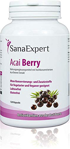 SanaExpert Acai Berry, Supplement with Pure açaí Berry Extract and antioxidants, Vegan, no additives and Made in Germany, 120 Capsules (1)