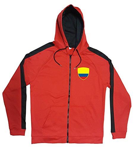 Kolumbien Jacke Sweater Rot JA GO Colombia Trikot Look Zip Nation Fussball Sport (L)