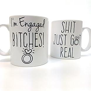 Couples engagement gift ♥ I'm engaged bitches, shit just got real ~ just engaged ~ engagement gift ~ couples mug set (10oz standard)