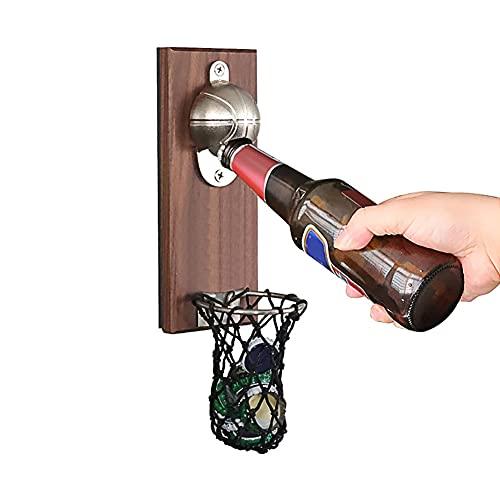 Ysislybin Apribottiglie in legno con contenitore per tappi a corona, apribottiglie magnetico da parete con contenitore, apribottiglie senza fori