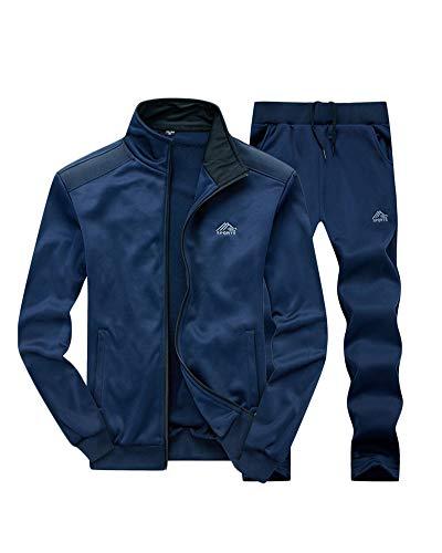 PengGengA Trainingsanzug Herren Jogginganzug Für Männer Sportanzug Freizeitanzug Jogginghose + Zip Sweatshirt Oberteil Dunkelblau S