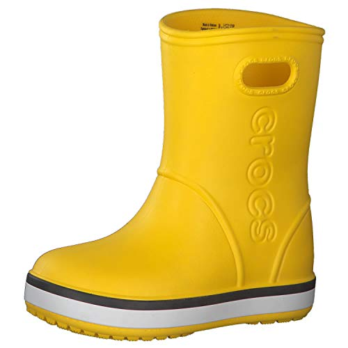 Crocs Kids' Crocband Rain Boot | Easy Slip On for Toddlers | Lightweight and Waterproof, Yellow/Navy, 8 M US Toddler