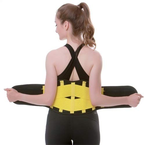 Cinturón deportivo para mujer, correa de adelgazamiento, para correr, gimnasio, faja deportiva, transpirable, corsé de fitness (color: amarillo, tamaño: M)