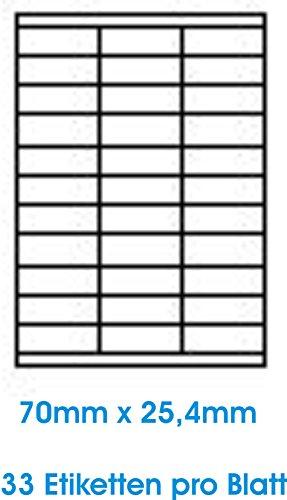 3300 stuks WHITE Zelfklevende etiketten zelfklevende adresetiketten etiketformaat 70x25,4 mm, 100 vel DIN A4, 70 g/m², geschikt voor inkjetprinters, laserprinters en kopieerapparaten.