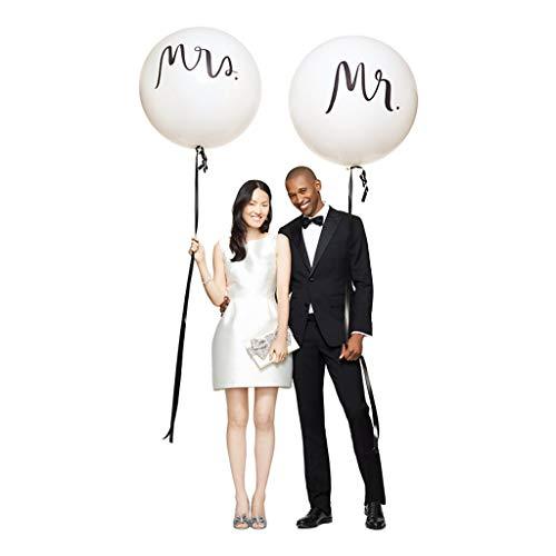 Amycute Riesen Hochzeits Ballons, 2 Stück 36' MR & MRS Luftballons Latex Ballons Weiß Mr&Mrs Deko Girlande Dekoration Hochzeit Set.