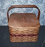 Handwoven Square Double Pie Carrier Basket with Wood Tray and Lid