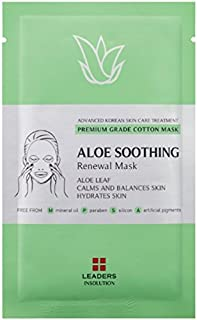 [LEADERS] Aloe Soothing Renewal Mask / Premium Grade Cotton Mask / Aloe Leaf - Calms and Balances Skin - Hydrates Skin / 10 Sheet Masks