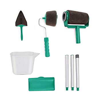 Upgraded Paint Roller Kit 8 Pcs Multifunctional Painting Runner Set Paint Runner Pro Paint Roller Brush Handle Tool Flocked Edger Corner Cutter Home Office Wall Printing Tools  Green
