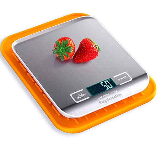 Supkitdin Básculas de Cocina Digitales, básculas de Cocina de Acero Inoxidable de Primera Calidad, Pantalla LCD, Viene con un útil tapete de Silicona (Plateado)