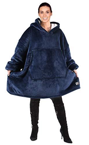 Kato Tirrinia Übergroße Sherpa Hoodie Sweatshirt Decke, Weiche Warme Riesen Hoodie Fronttasche Giant Plüsch Pullover Decke mit Kapuze for Erwachsene Männer Frauen Teenager-Studenten, Dunkelblau