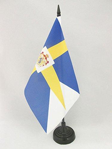 AZ FLAG TISCHFLAGGE KÖNIGLICHE SCHWEDEN 21x14cm - SCHWEDISCHE TISCHFAHNE 14 x 21 cm - flaggen