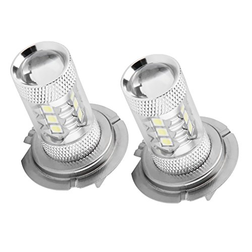 IPOTCH 2 Piezas Auto Car 80W White H7 16-LED Bulb DRL Lights