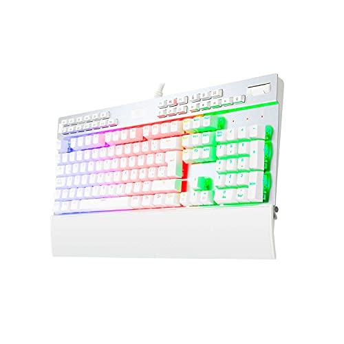 Redragon K550W Yama Teclado Mecánico Español Blanco, RGB para Juegos con Teclas Multimedia Dedicadas, Interruptores Purple, Reposamuñecas Desmontable-Magnético