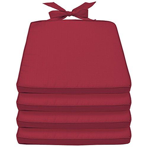 Beautissu Set de 4 Cojines para sillas Pia sillas Mimbre y Asientos Interior/Outdoor 45x40x5cm desenfundables Rojo