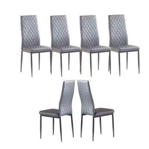 Dining Chair Modern Minimalist Fireproof Leather Sprayed Metal Pipe Diamond Grid Pattern Restaurant Home Conference Chair Set of 6 Gray IANIYA