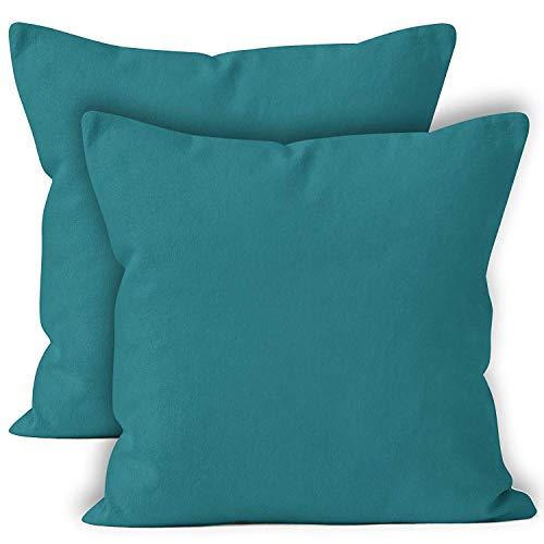 Encasa Homes Housses de Coussin Lot de 2 (50 x 50 cm) - Azul Bleu - Doux Coton Toile Teint Rectangulaire Taie Oreillers Coloré Decoratif pour Maison Decor Salon Chambre Canapé Lavable - importé