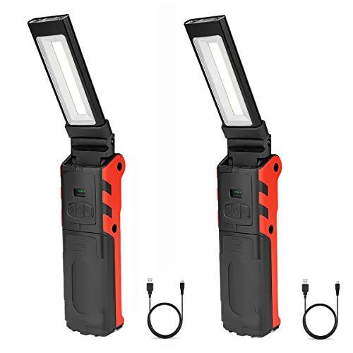 Preisvergleich Produktbild 2 Pack LED Arbeitsleuchte,  COB Inspektionsleuchten Taschenlampe Mit Magnet USB Wiederaufladbare Akku Handlampe Campinglampe,  Für Auto Reparatur,  Camping,  Notbeleuchtung (4000 mAh)