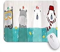 NIESIKKLAマウスパッド かわいい動物の赤ちゃんカバ鳥海 ゲーミング オフィス最適 高級感 おしゃれ 防水 耐久性が良い 滑り止めゴム底 ゲーミングなど適用 用ノートブックコンピュータマウスマット
