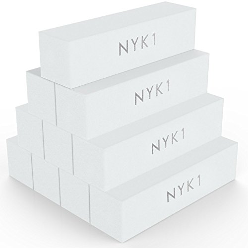 White Nail Buffer Sanding Block - (Pack of 10) NYK1 Professional Salon Quality Grit Nail Buffer File for Sanding, Filing Natural, Shellac or Acrylic Gel Nails