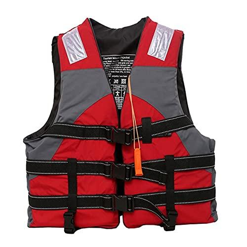 LVLUOKJ 20-120KG Chaleco Salvavidas con Silbato de Emergencia para Niños Adulto para Nadar,Pesca,Kayak,Navegación,Remo (Color : Red, Size : 80-120kg)