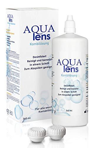 AQUA lens Kontaktlinsen Flüssigkeit (360 ml + Behälter) - Premium All-in-One Kombilösung für weiche Kontaktlinsen mit HPMC - für trockene und empfindliche Augen