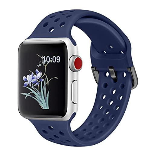 Correa Compatible para Apple Watch 44 mm 42 mm 40 mm 38 mm Correa deportiva de repuesto transpirable para iwatch 6 5 4 3 2 SE Band-Azul noche, para 38 mm o 40 mm