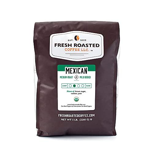 Fresh Roasted Coffee, Organic Mexican, Medium Roast, Kosher, Whole Bean, 5 Pound