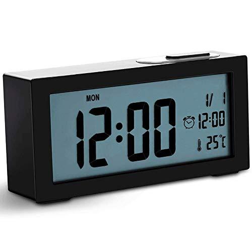 Hammer No garrapata de alarma reloj de cabecera, LED reloj despertador digital con USB, temperatura ajustable Función Snooze luz de fondo y la luz, relojes de alarma for la tercera edad dormitorios ca
