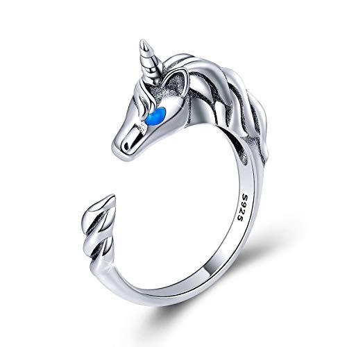 Forever Queen Anillo de plata de ley 925 con diseño de unicornio, anillos abiertos ajustables para mujeres, regalo de cumpleaños, caja de joyería empaquetada