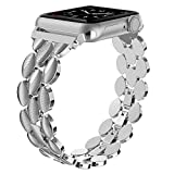 Moolia Compatible with Apple Watch Band 38mm 40mm Metal Fashion Women Replacement Strap Bracelet for iWatch Series 6 5 4 3 2 1 Silver