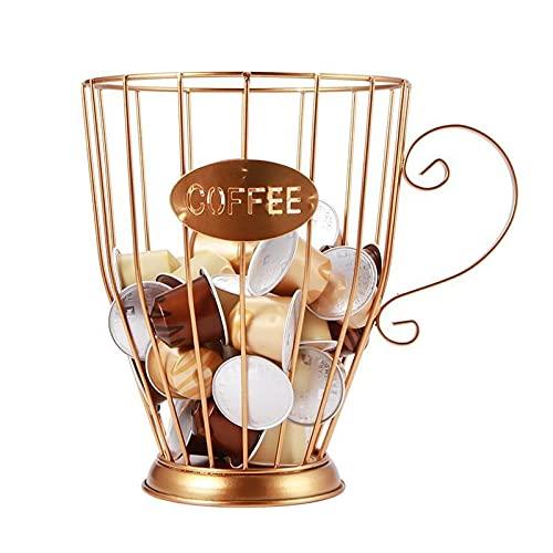 PPuujia Soporte para tazas de café de gran capacidad, cesta de almacenamiento para cápsulas de café, organizador de cápsulas de café, color negro, vintage, para la cafetería o la tienda (color: B)