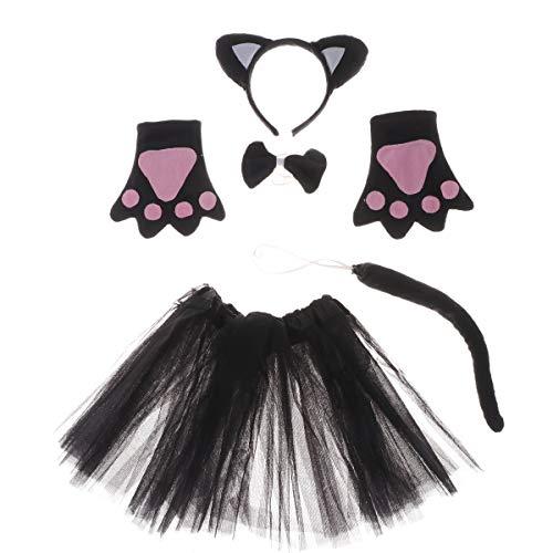 Happyyami 5pcs Déguisement de Chat Halloween Animaux Costumes Accessoires pour Enfants avec Serre Tête Oreilles de Chat Noeud Papillon Gants Queue Jupe Tutu pour Enfants Noir