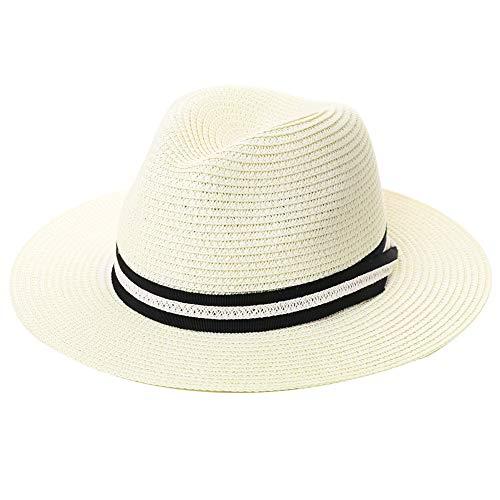 Comhats - Cappello da golf Trilby Fedora, da uomo, in paglia, regolabile, pieghevole 00714_bianco M