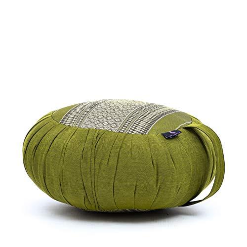 LEEWADEE cojín de meditación Zafu – Almohada Redonda de Yoga, Asiento tailandés de kapok Natural Hecho a Mano, 40 x 20 cm, Verde