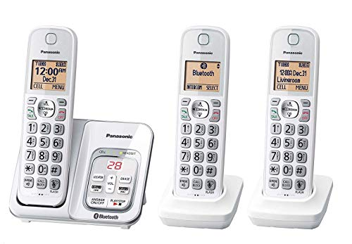 Panasonic KX-TG833SK1 Link2Cell Bluetooth Cordless Phone W/Voice Assist 3 Handsets (Renewed)